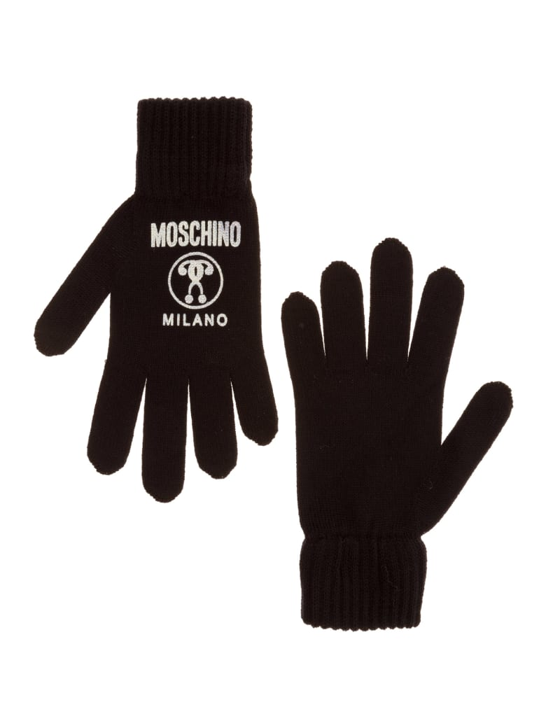 Moschino Double Question Mark Gloves - Nero