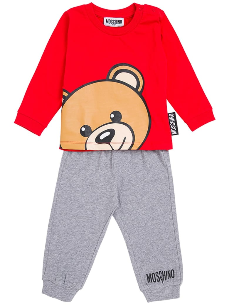 Moschino Coordinated Cotton Suit With Logo Print - Red