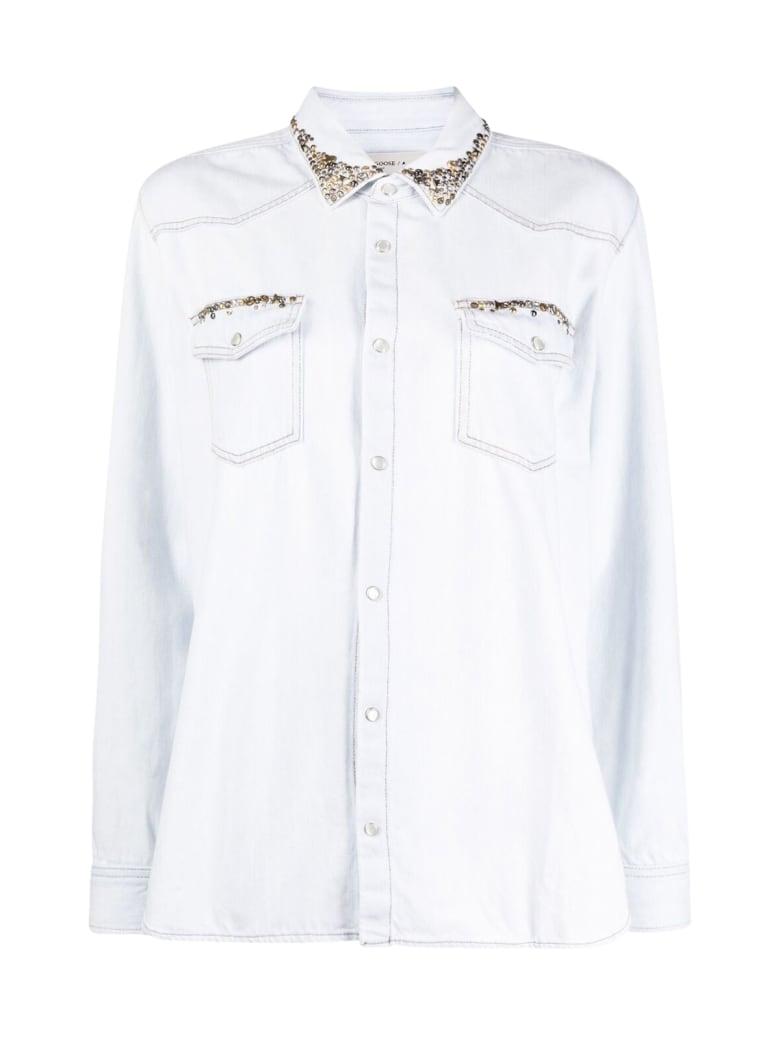 Golden Goose Shirt Axel Regular Bleached/studs - Blue