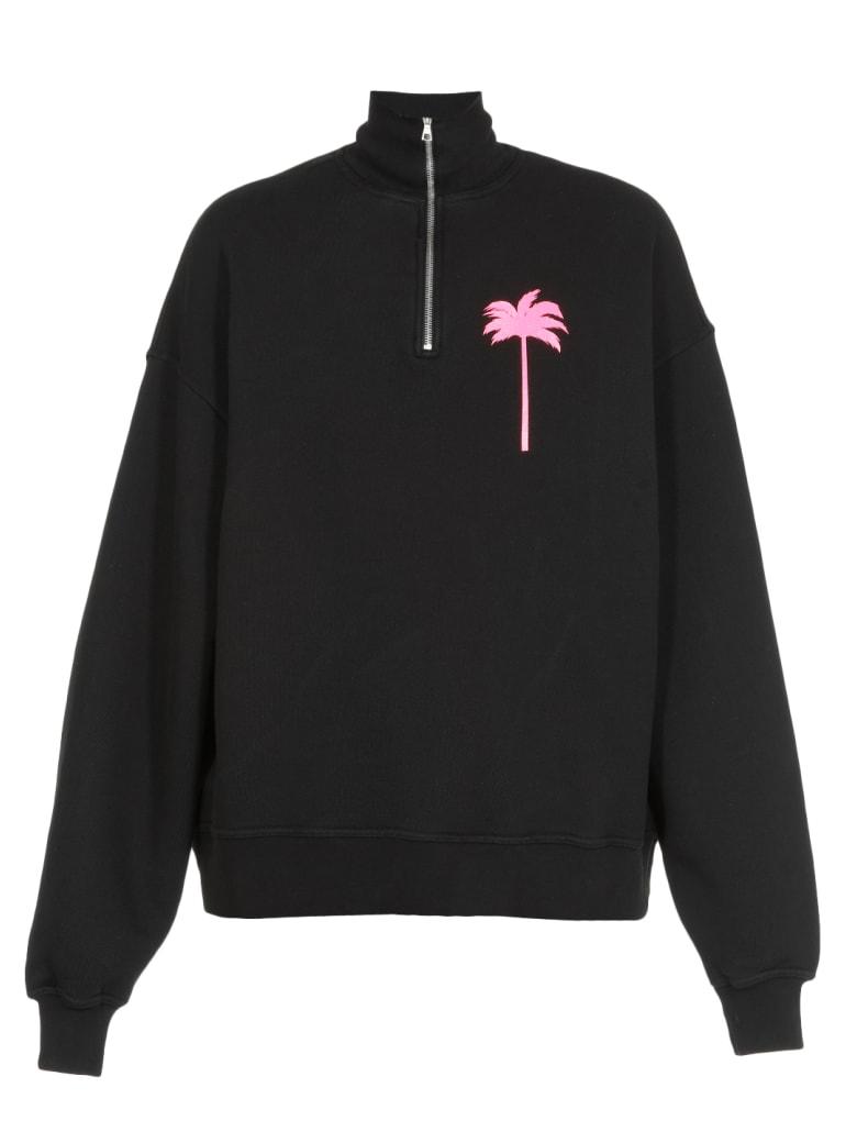 Palm Angels Palm Tree Sweatshirt - BLACK FUCHSIA