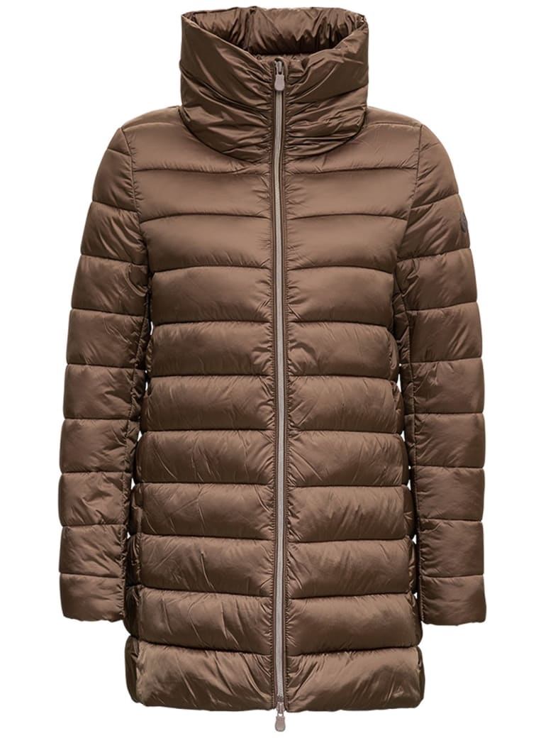 Save the Duck Long Brown Nylon Down Jacket - Brown