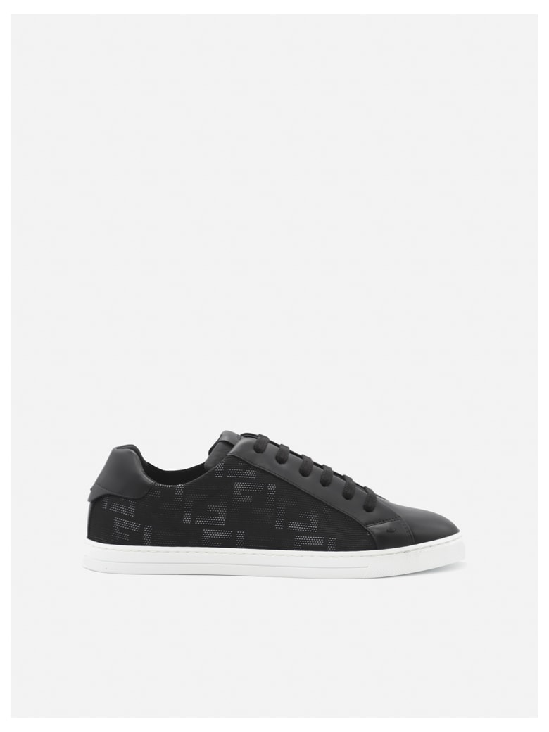 Fendi Low Top Sneakers In Leather With All-over Ff Motif - Black