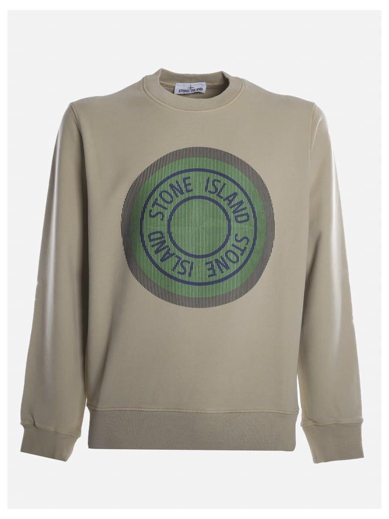 Stone Island Cotton Sweatshirt With Maxi Graphic Print - Ecru