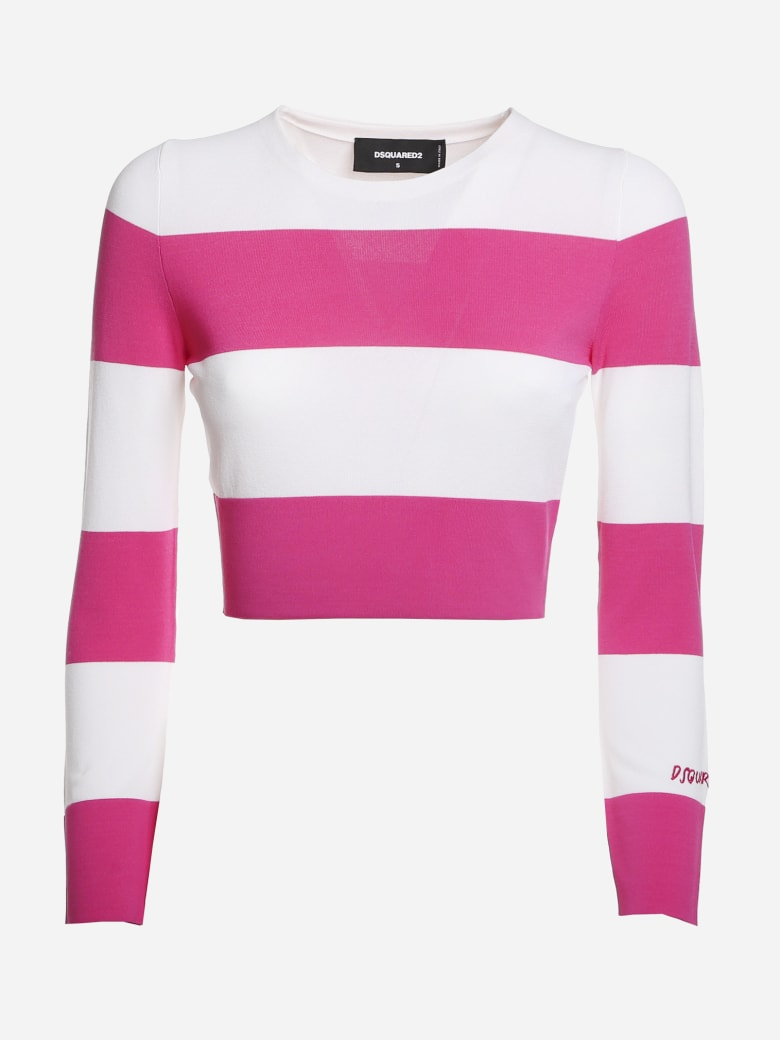 Dsquared2 Pullover With Horizontal Striped Pattern - White, pink