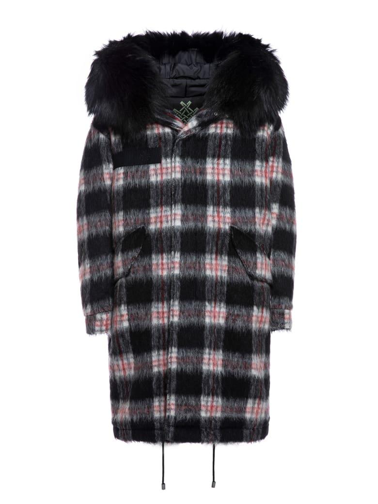 Mr & Mrs Italy Tartan London Parka M51 For Woman With Fur - BLACK/WHITE / BLACK / BLACK