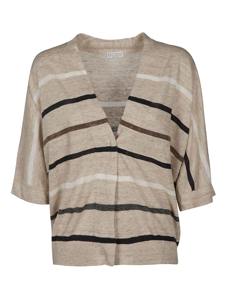 Brunello Cucinelli Striped Cardigan - Beige