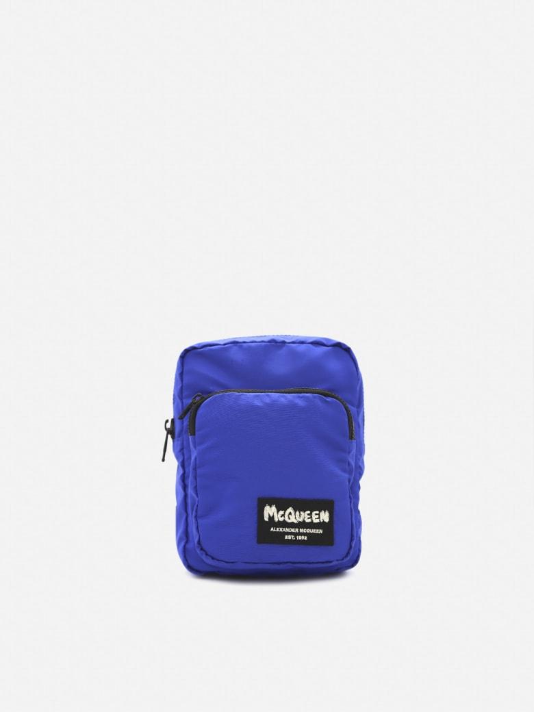 Alexander McQueen Nylon Shoulder Bag With Graffiti Logo Detail - Blue
