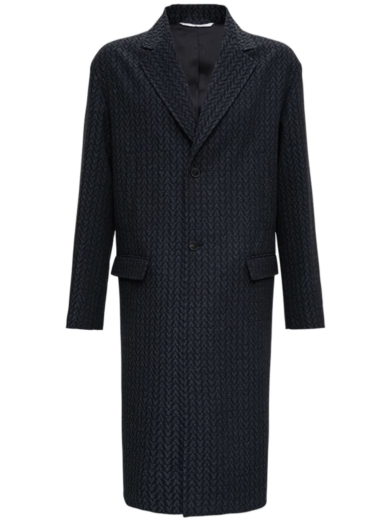 Valentino Vltn Wool Long Coat - Grey