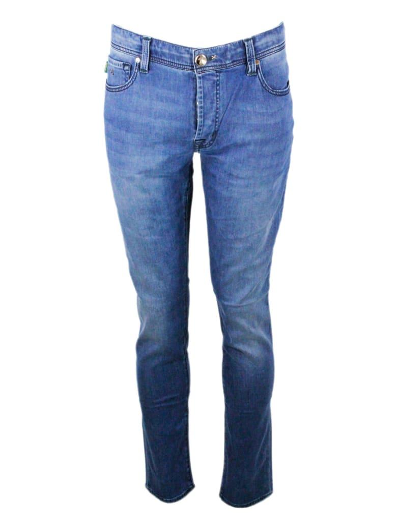 Sartoria Tramarossa Leonardo Stretch Selvedge Denim Trousers With 5 Pockets With Tailored Stitching - Denim