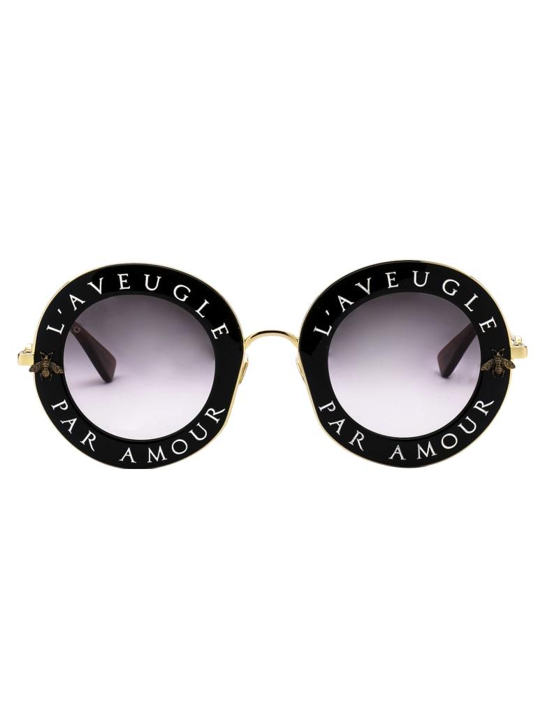 Gucci Gg0113s Sunglasses - 001 BLACK GOLD GREY