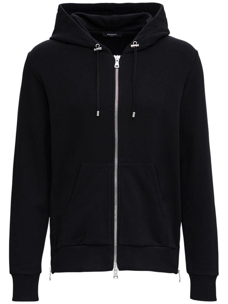 Balmain Back Cotton Hoodie With Logo Print - Black