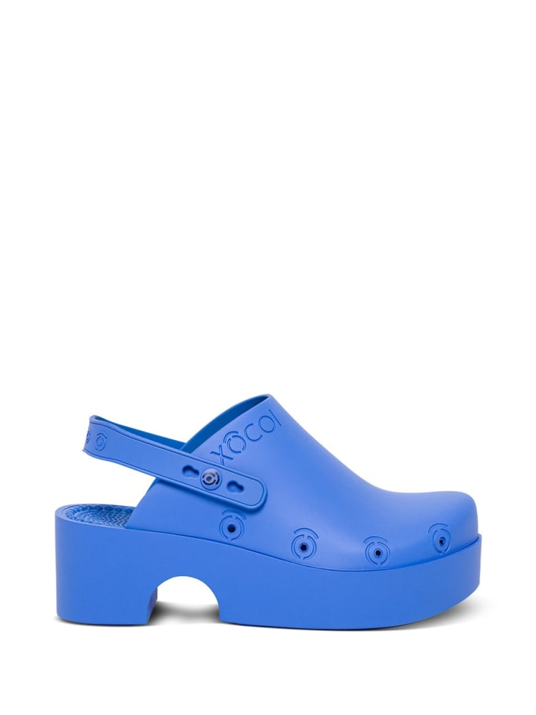 Xocoi Blue Recycled Rubber Clogs With Logo - Blu