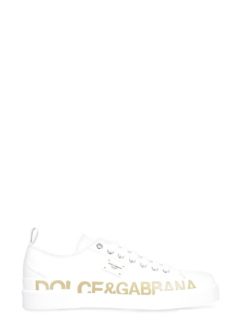 Dolce & Gabbana Portofino Leather Sneakers - White