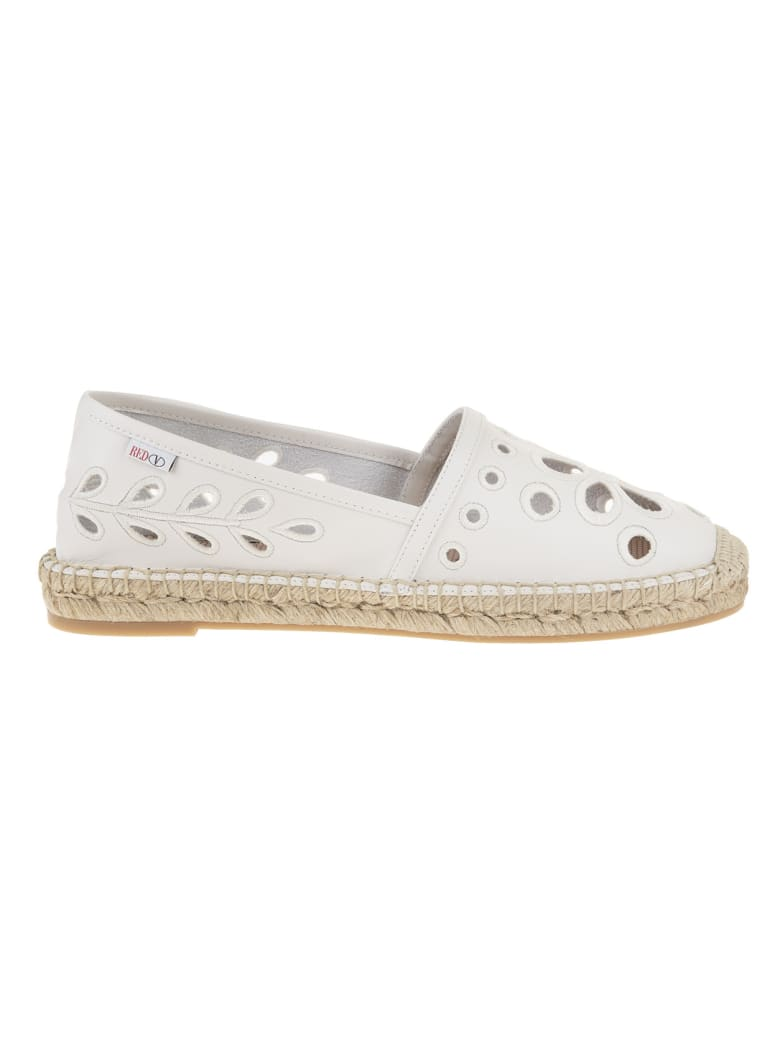 RED Valentino White Leather Espadrilles With Cut-out Detail - Latte