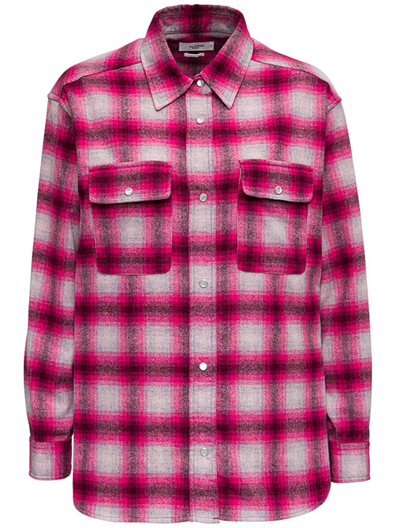 Isabel Marant Étoile Marcelia Shirt In Pink Check Wool - Pink