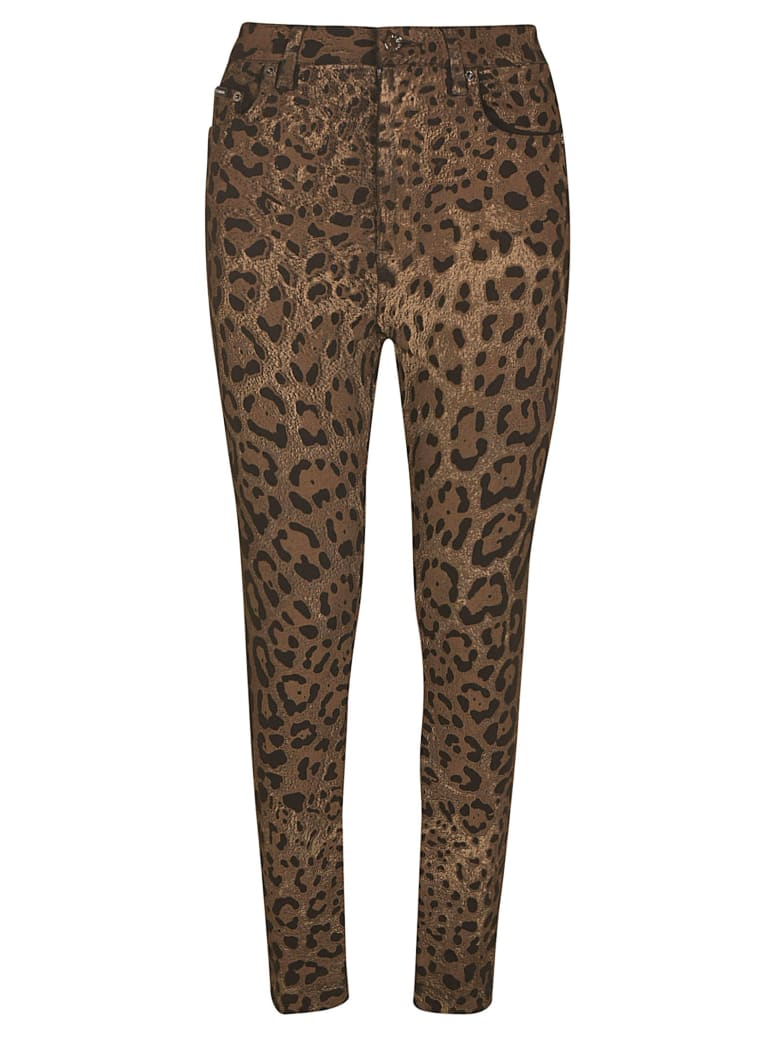 Dolce & Gabbana Plate Logo Patch Printed Jeans - Leopardato