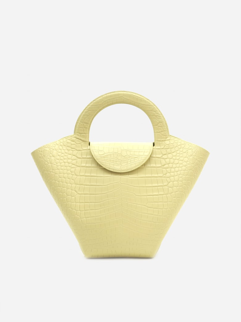 Bottega Veneta Large Doll Tote Bag In Crocodile Print Leather - Vanilla