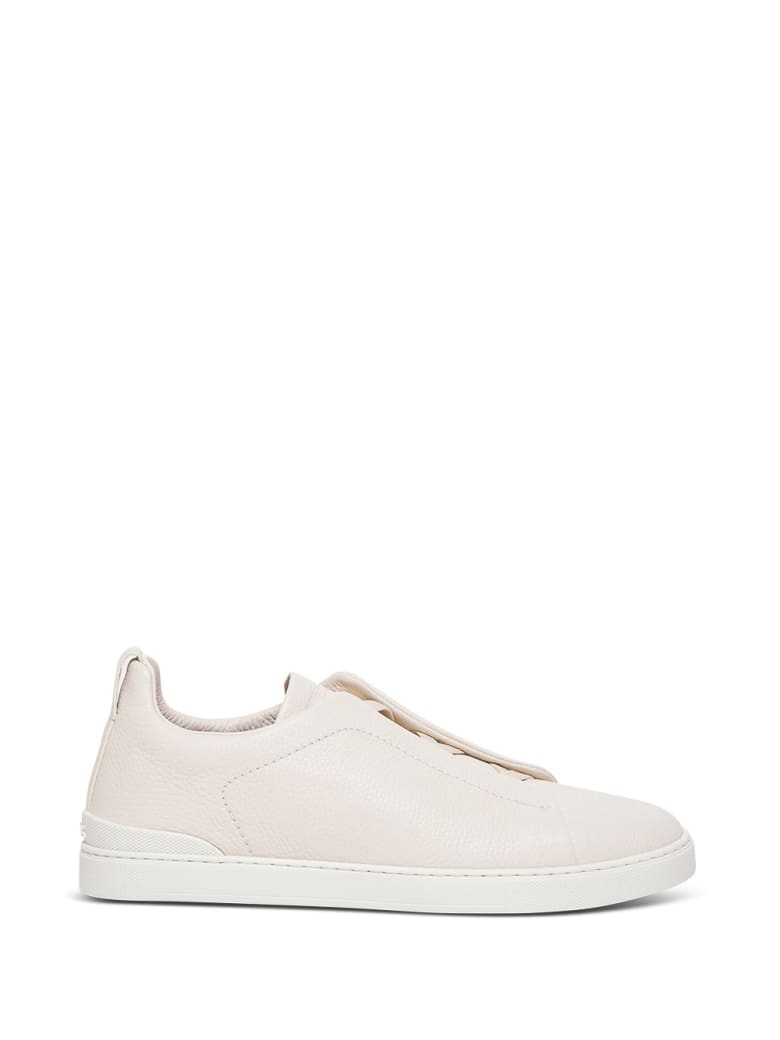Z Zegna Ivory Leather Sneakers - Black