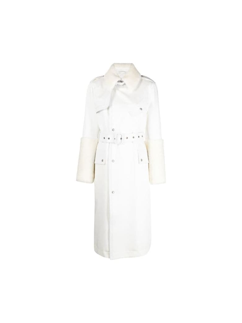 Mr & Mrs Italy Elizabeth Sulcer's Capsule Cotton Drill, Metal-free Shearling And Leather Trench For Woman - WHITE / SAIL WHITE