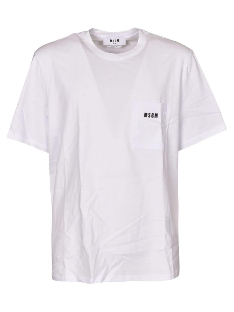 MSGM Logo Patch Pocket T-shirt - Bianca