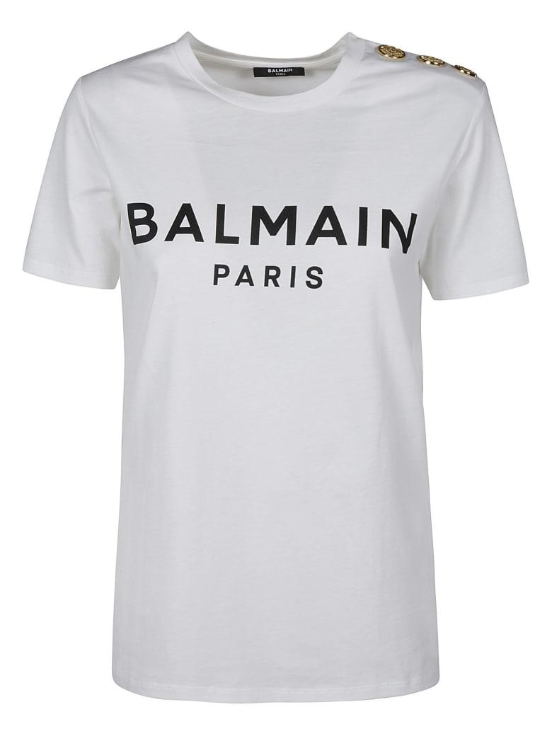 Balmain Button Embellished Logo T-shirt - Bianco
