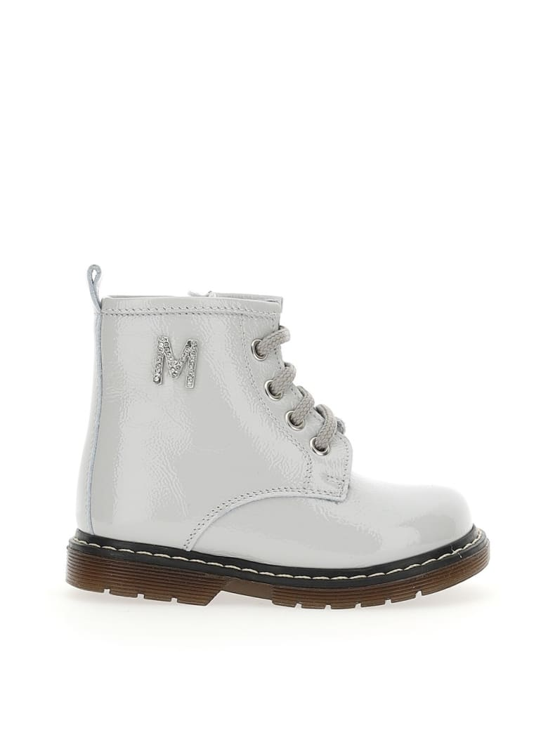 Monnalisa White Leather Boots With Logo - Grey