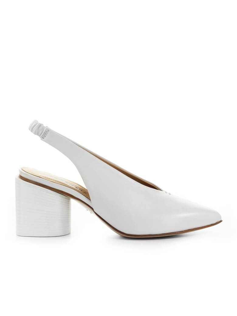 Halmanera White Nappa Leather Slingback Pump - Bianco