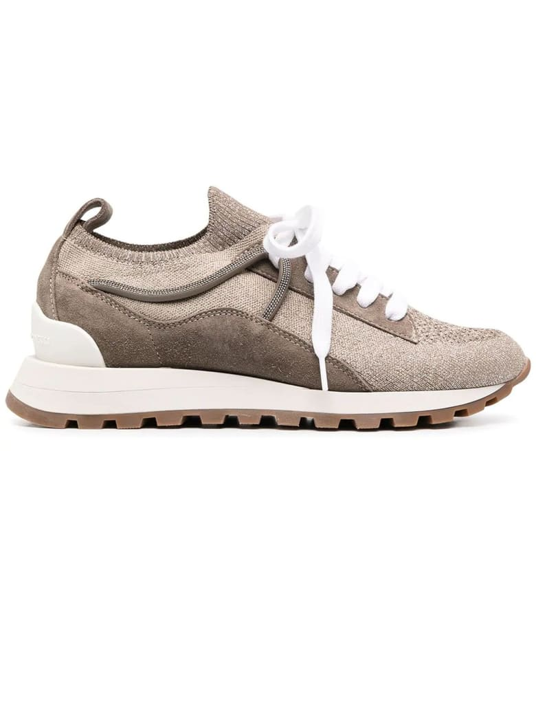 Brunello Cucinelli Runners In Sparkling Knit And Suede - Nocciola