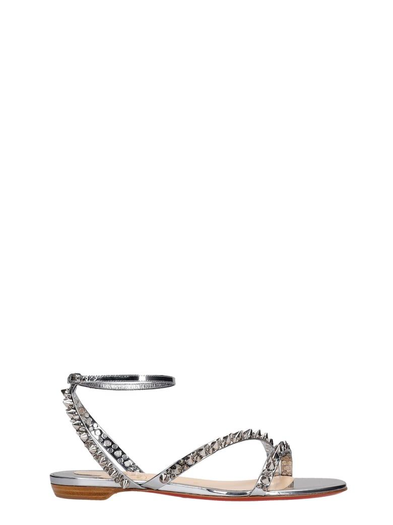 Christian Louboutin Mafaldina Flats In Silver Leather - silver