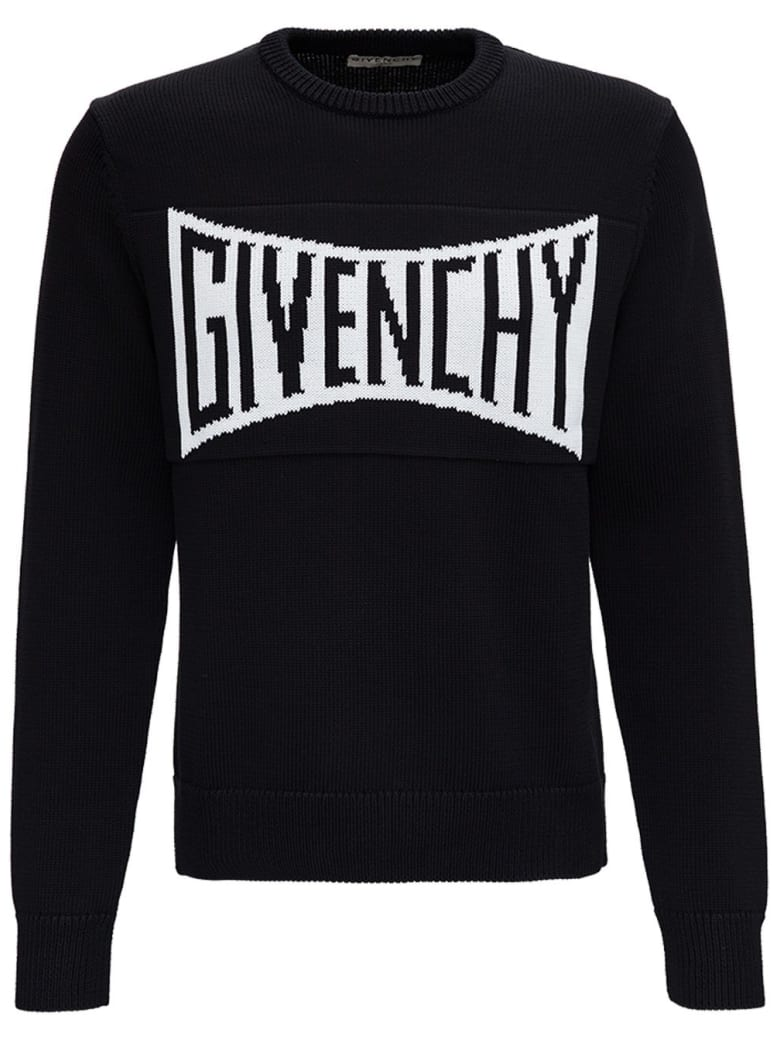 Givenchy Black Jersey Sweater With Front Logo - Black