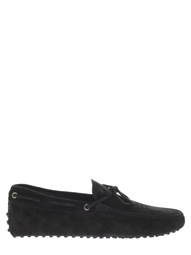 Tod's Suede Moccasin With Grommets - Black
