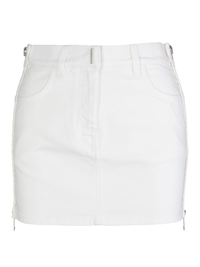 Givenchy White Denim Mini Skirt With Zip - White