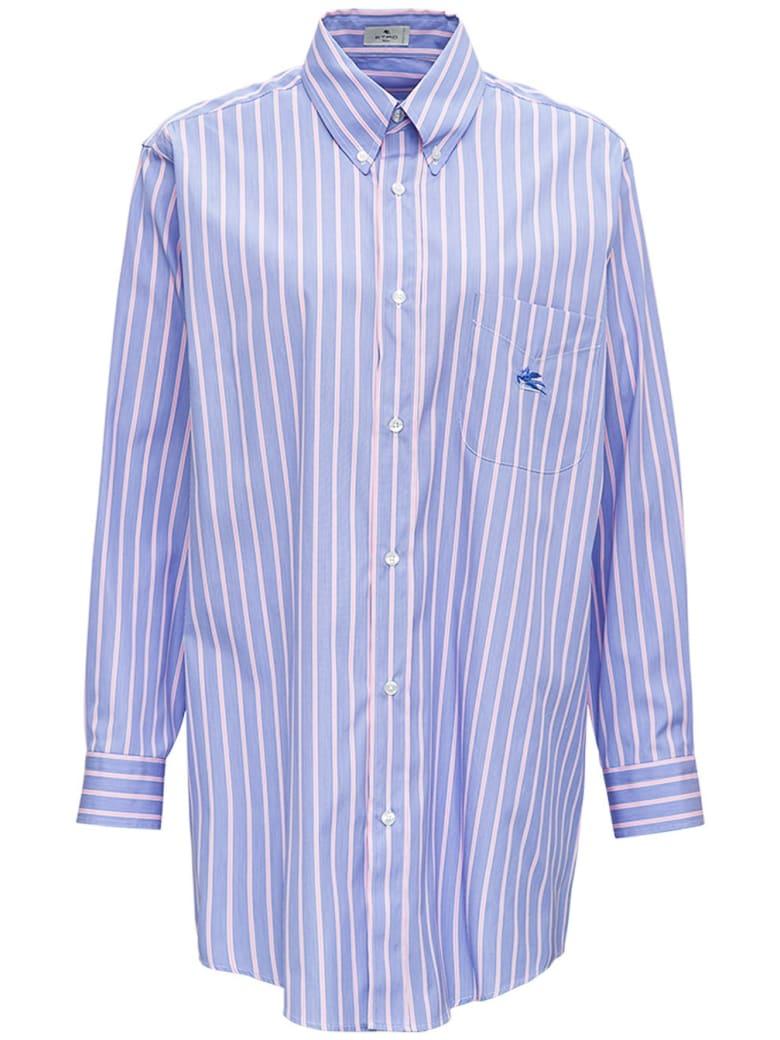Etro Striped Cotton Poplin Shirt With Logo - Blu