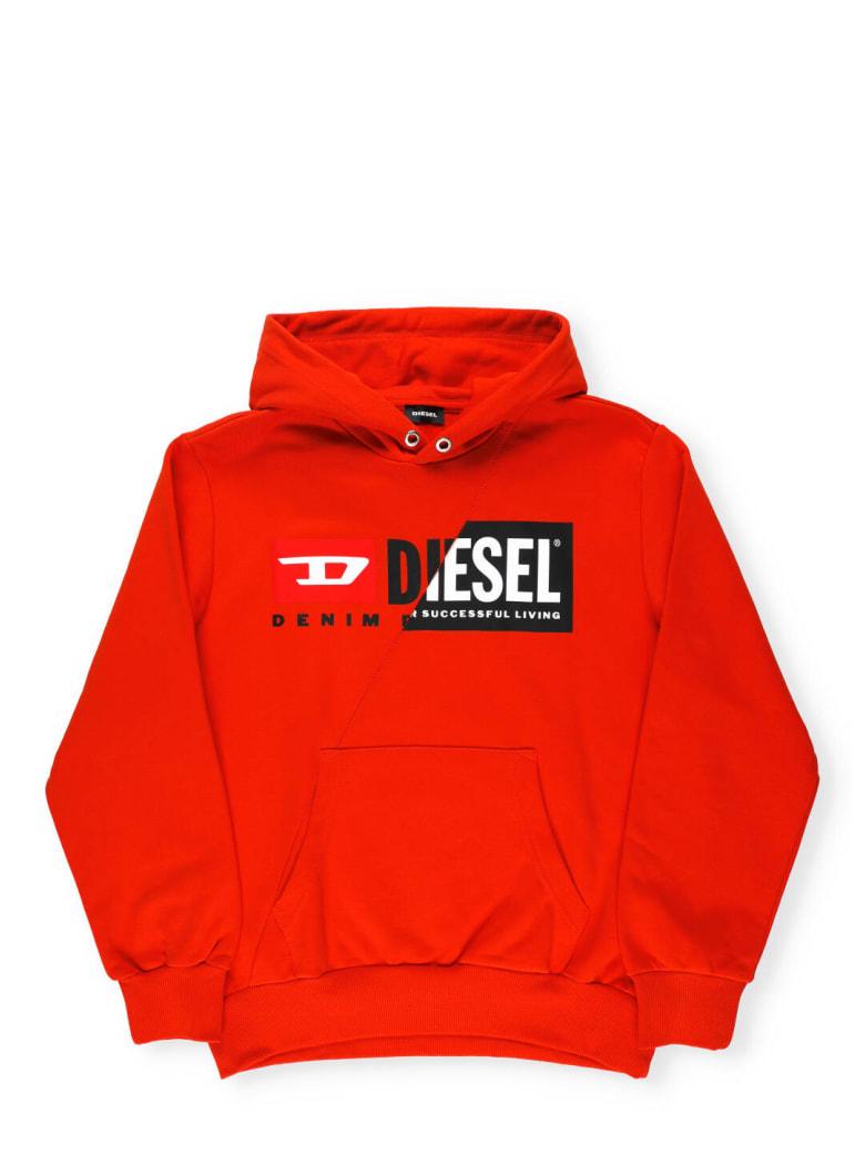 Diesel Logo Patchwork Hoodie - Orange