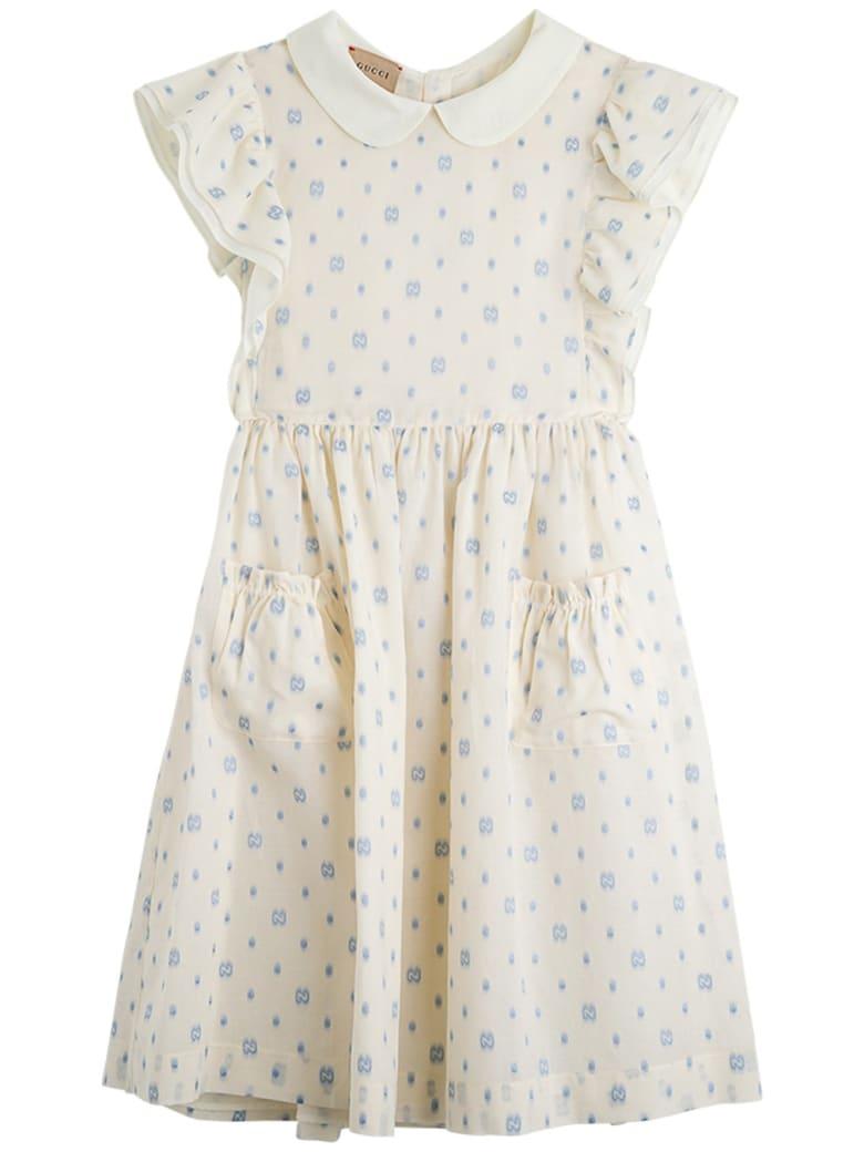 Gucci Gg Polka Dot Cotton Dress - (ivory/azure)