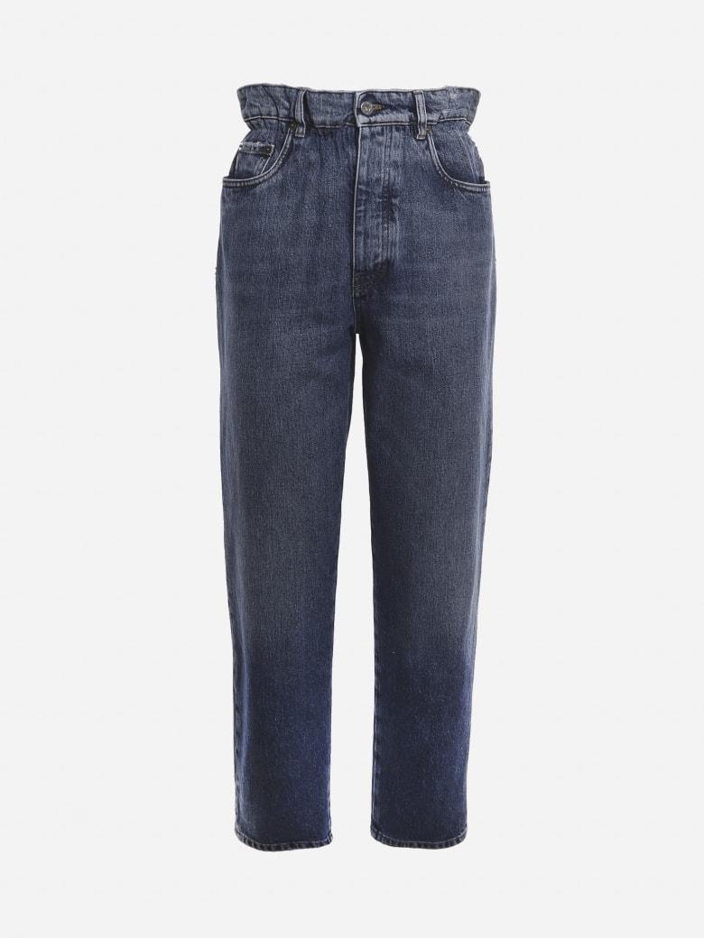 Miu Miu Paper Waist Jeans In Cotton Denim With Logo Detail - Blue