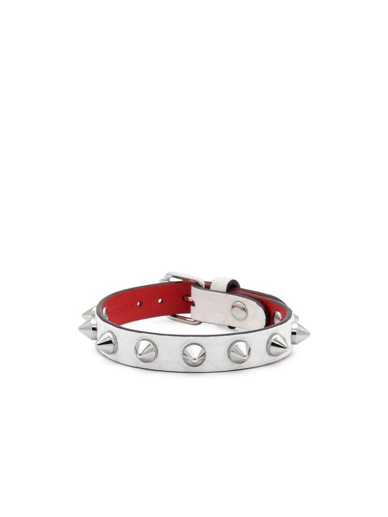 Christian Louboutin White/silver Snake Printed Loubilink Bracelet - WHITE/SILVER