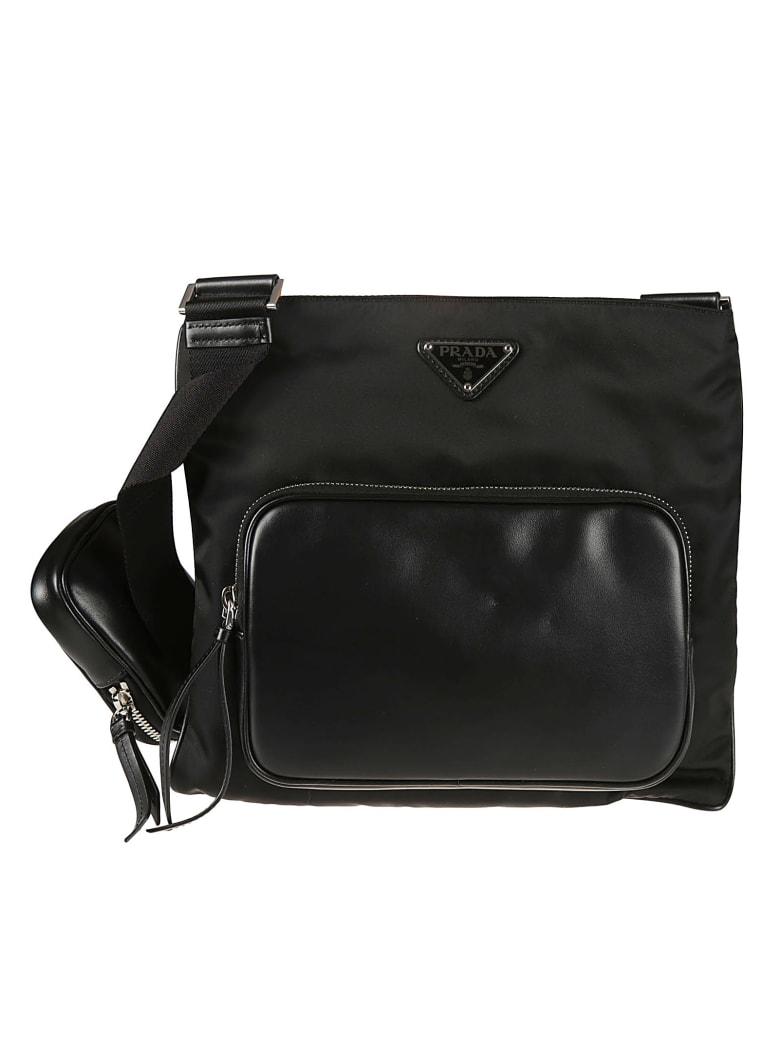 Prada Pouch Applique Top Zip Messenger Bag - Black