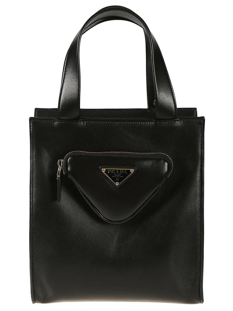 Prada Pouch Applique Top Handle Shopper Bag - Black