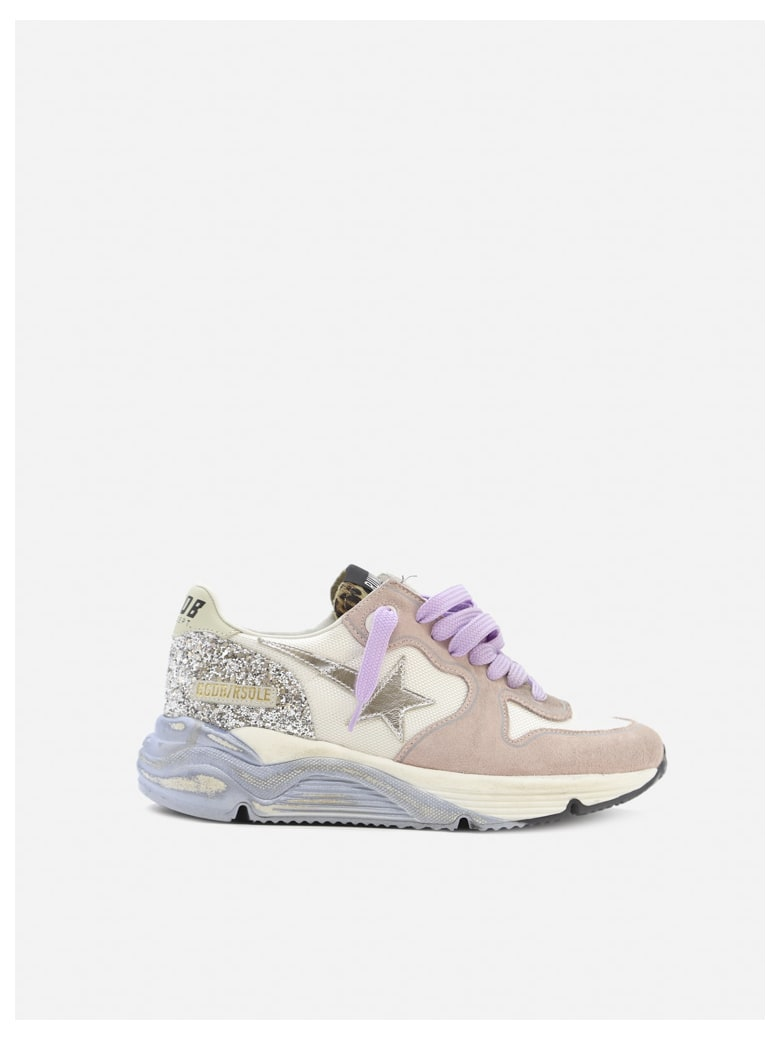 Golden Goose Running Sole Sneakers In Suede And Nylon - Pink, light blue
