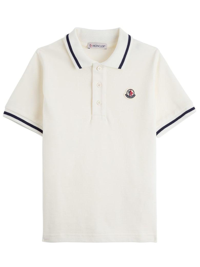 Moncler Cotton Piquet Polo Shirt With Logo Patch - White