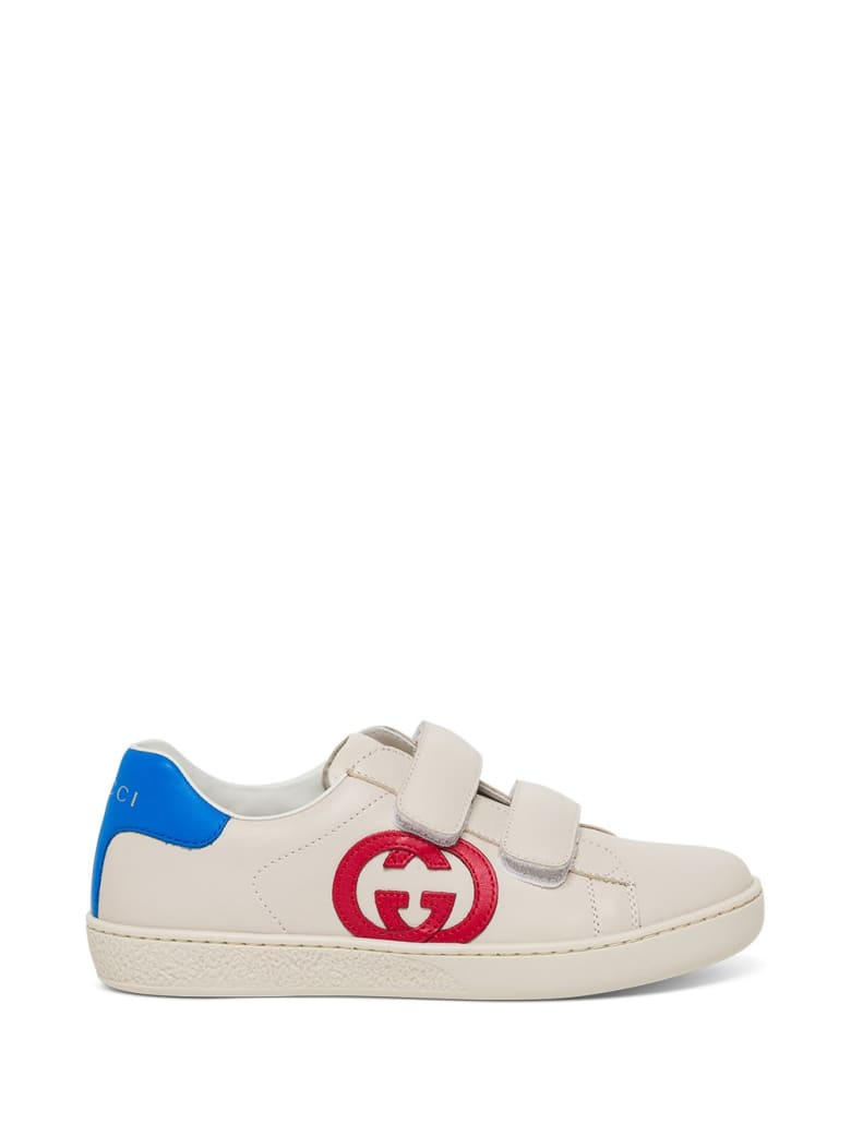 Gucci Ace Leather Sneakers With Logo - White Red