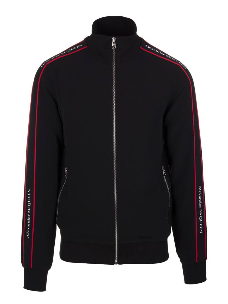 Alexander McQueen Man Black Sweatshirt With Zip And Logoed Bands - Black