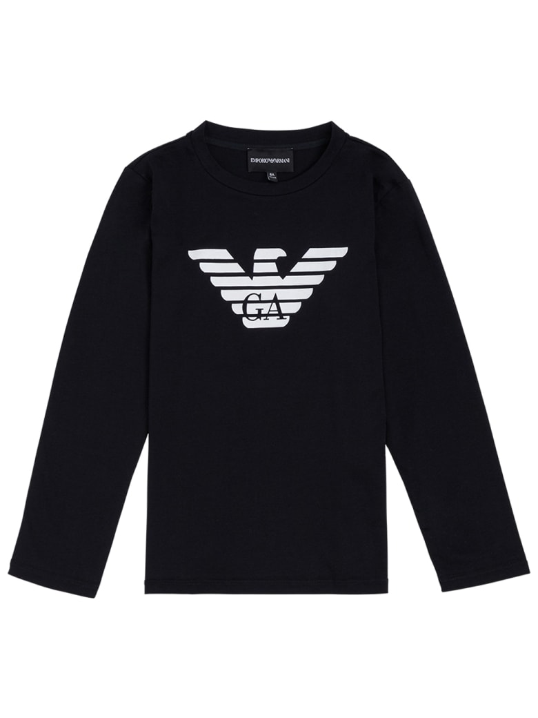 Emporio Armani Long-sleeved Blue Cotton T-shirt With Logo Print - Blu