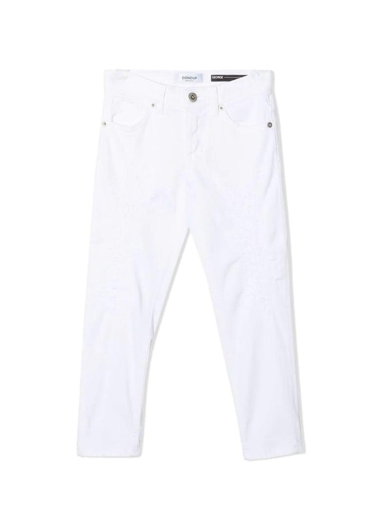 Dondup White Cotton-blend Skinny Jeans - Bianco