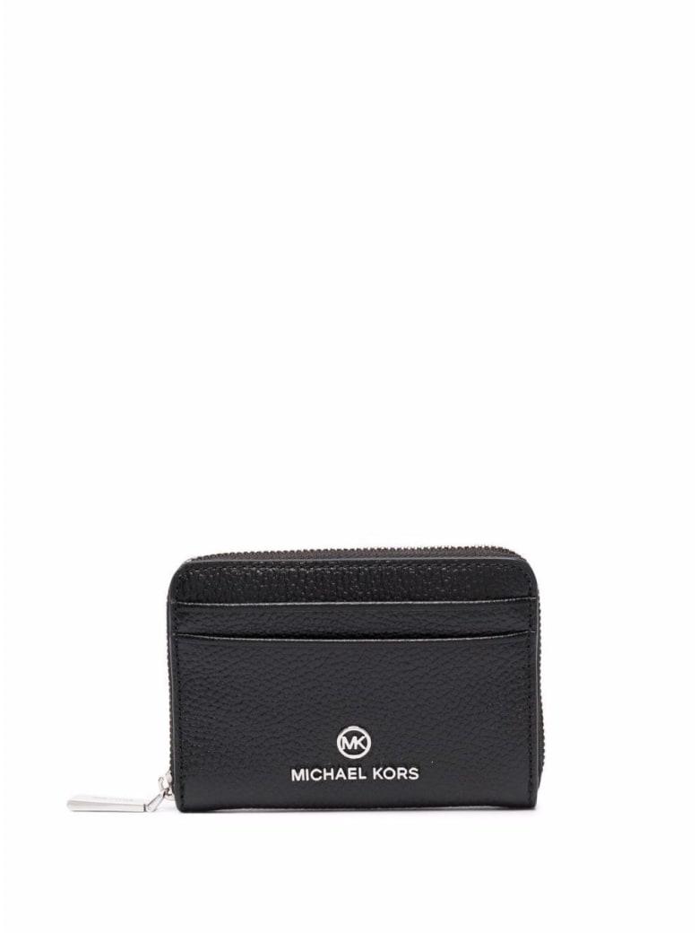 MICHAEL Michael Kors Jet Set Wallet In Black Leather With Logo - Black