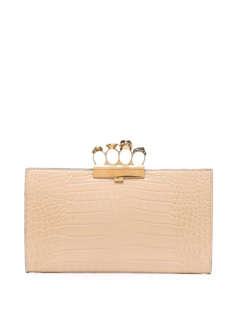 Alexander McQueen Four Ring Beige Crococdile Printed Leather - Beige