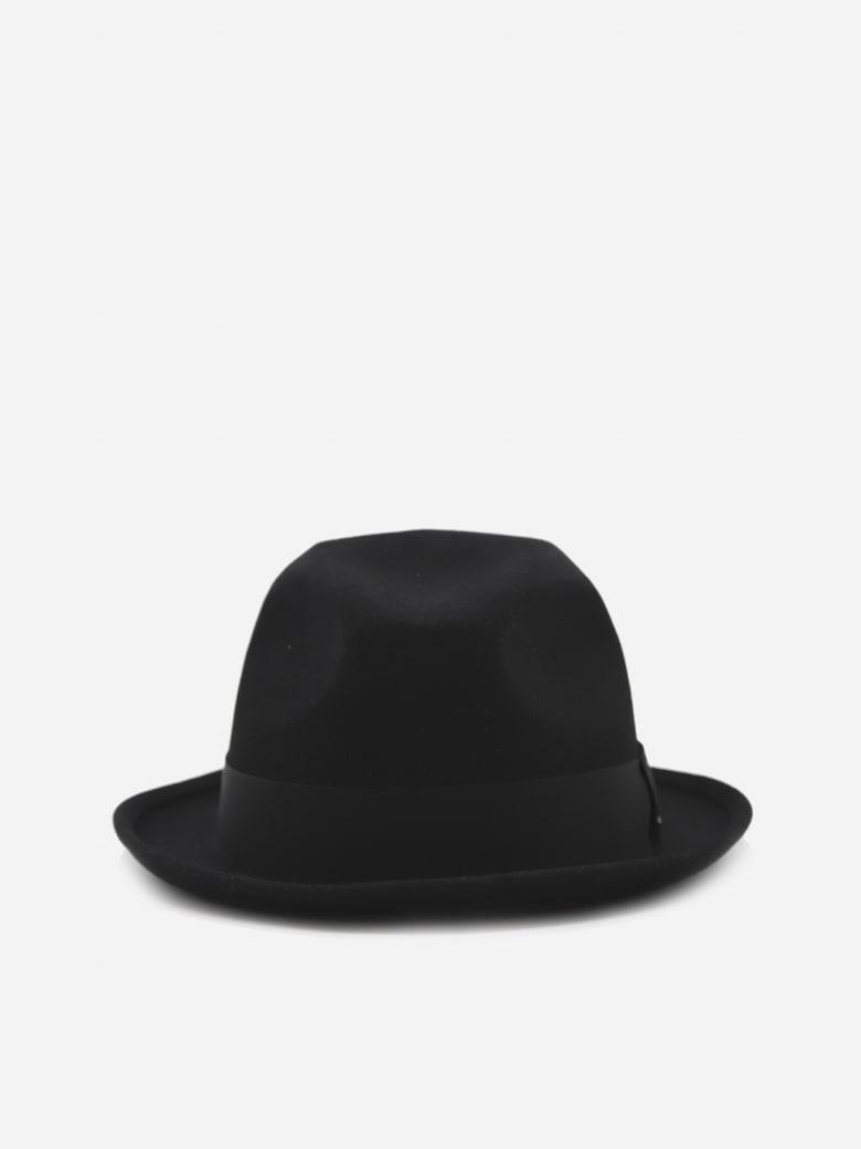Saint Laurent Fedora Hat In Rabbit Felt With Grosgrain Ribbon - Black