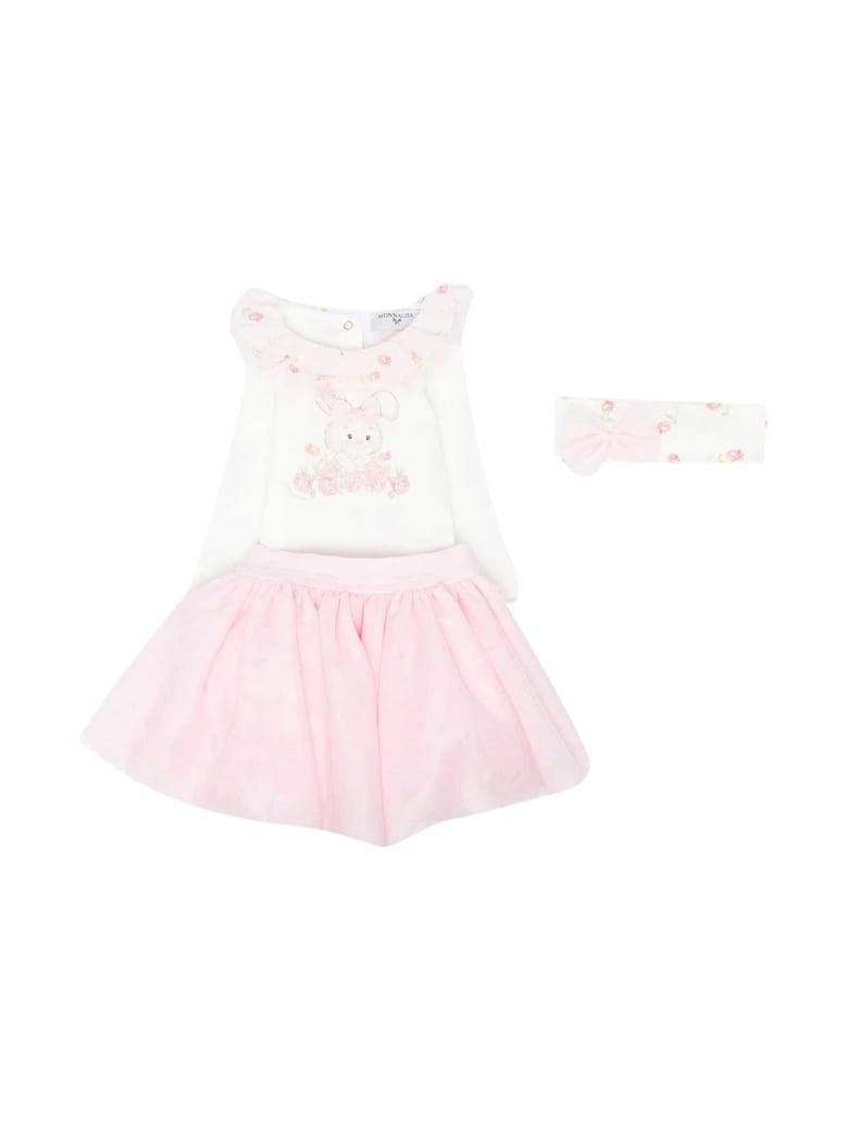 Monnalisa White Dress - Rosa