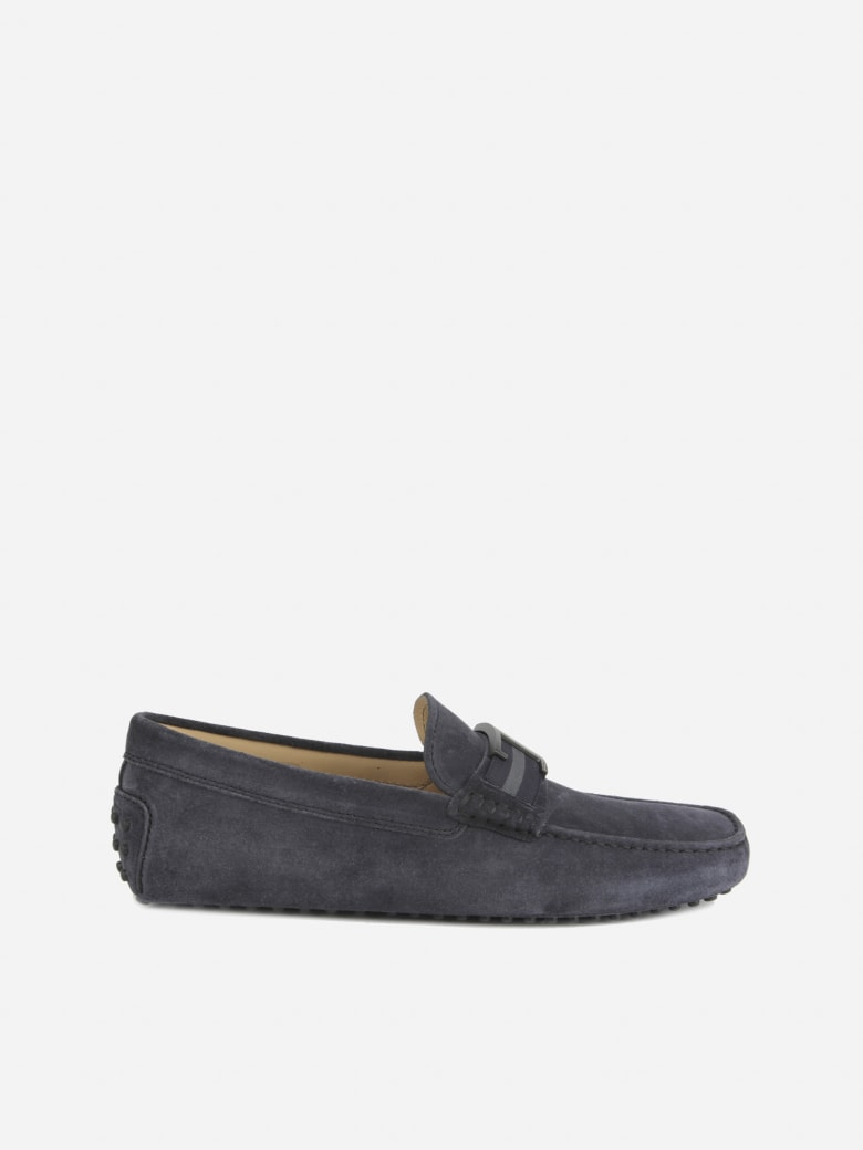 Tod's Suede Loafers With Metal Monogram - Blue